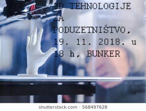 """Poziv na stručno predavanje  """"3D TEHNOLOGIJE ZA PODUZETNIŠTVO"""""""